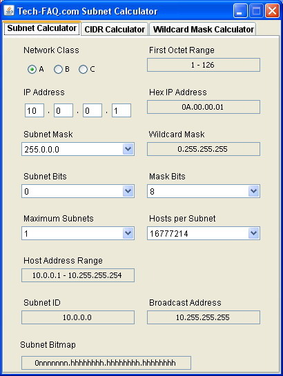 Click to view Tech-FAQ.com Subnet Calculator 1.0 screenshot