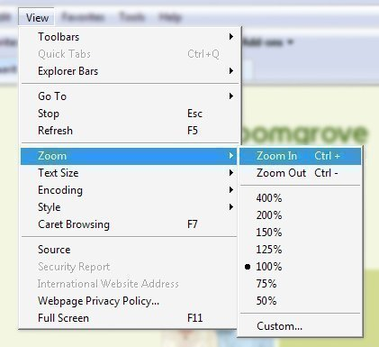 How to Zoom in Internet Explorer