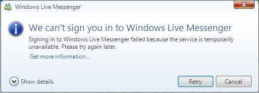MSN Error Code 80040154