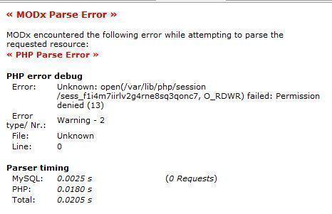 MODx Parse Error