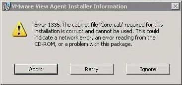 VMWare Error 1335