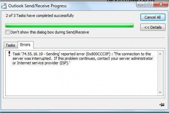 """How to Fix """"Outlook Error 0x800ccc0f"""""""