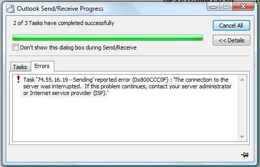 "How to Fix ""Outlook Error 0x800ccc0f"""
