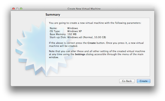 Virtualbox Create