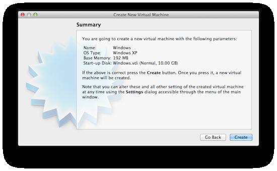 Virtualbox Create