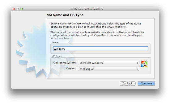 Virtualbox - Select OS