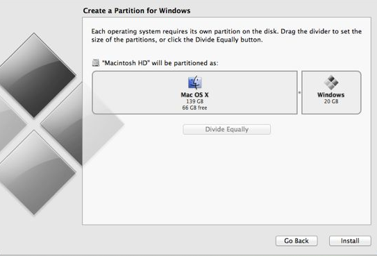 Boot Camp - Partition the hard disk