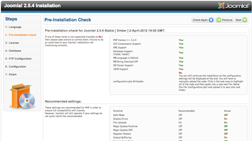 Joomla pre-installation check