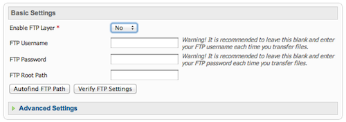 Joomla install FTP settings