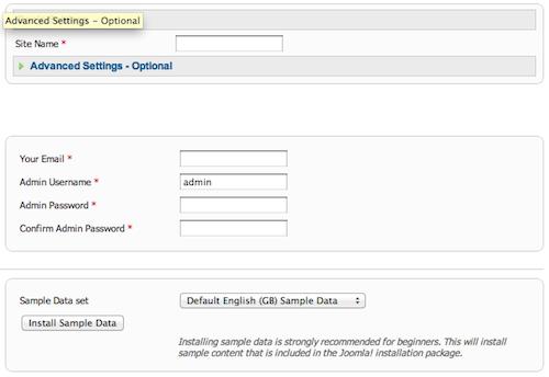 Joomla install main configuration
