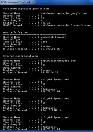 DNS Lookup using IPConfig DisplayDNS Command