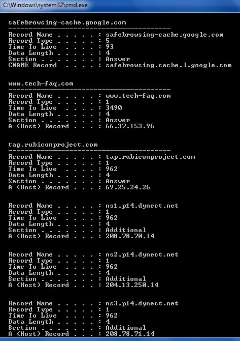 DNS Lookup using IPConfig DisplayDNS Command