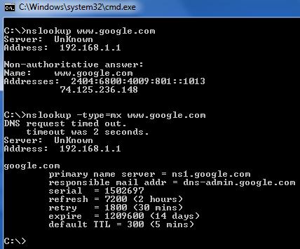 NSLookup Command to perform DNS Lookup