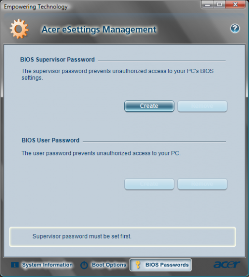 Reset Acer Bios Password with Acer eSettings Management