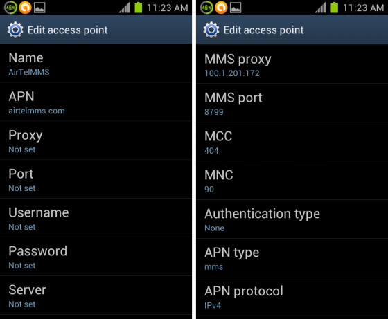 MMS Settings on Android 4.0 ICS