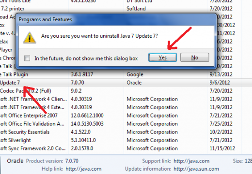 Uninstall Java