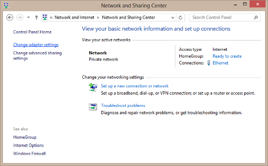 Windows Network Sharing Center