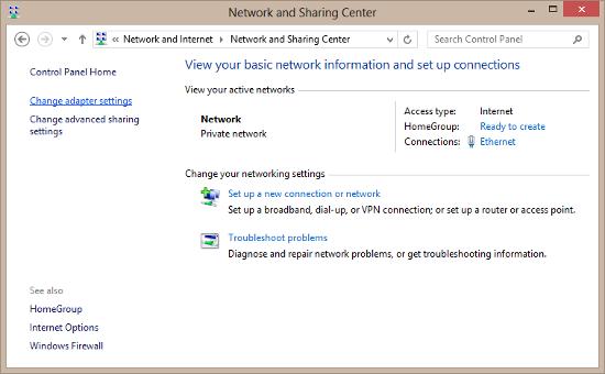 Windows Network Sharing Center