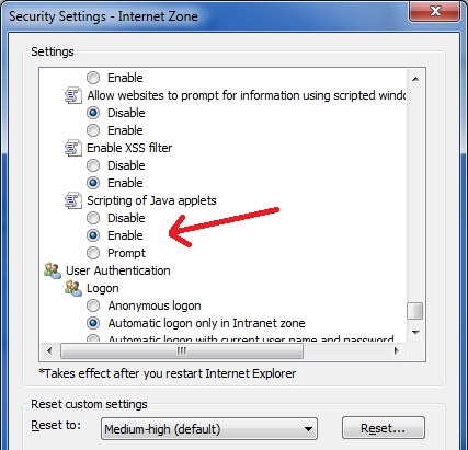 enable java in internet explorer