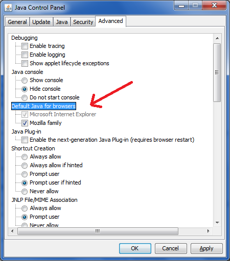 enable java in windows control panel