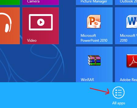 All Apps Bar in Windows 8