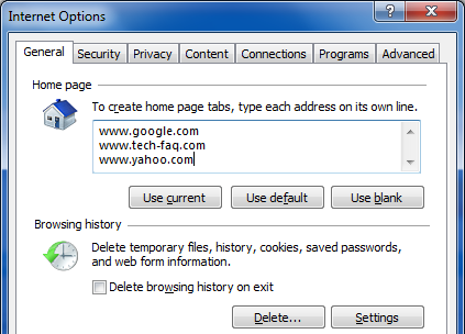 Load Multiple Web Pages in Internet Explorer
