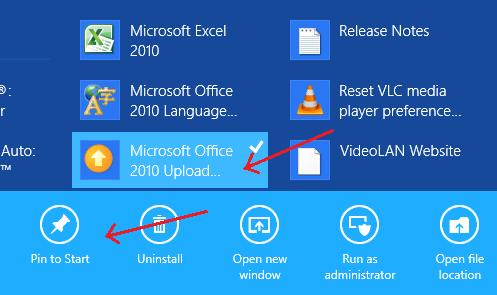 Pin to Start in Windows 8