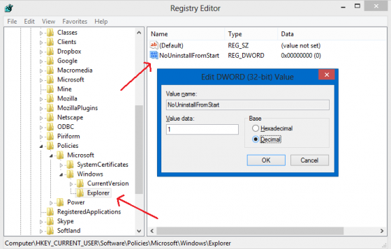 Disallow users to uninstall apps - Registry