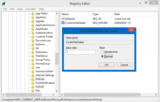 Enable file delete confirmation dialog - Registry