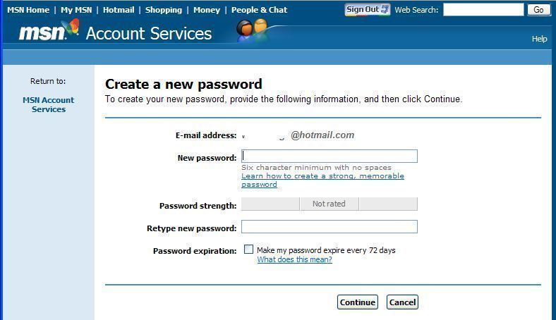Hotmail password retrieval