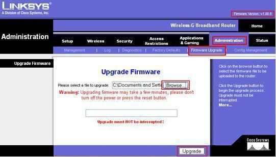 How to Upgrade LinkSys Firmware