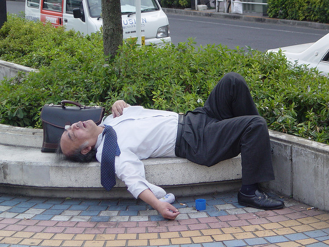 Passed Out Salaryman in the City