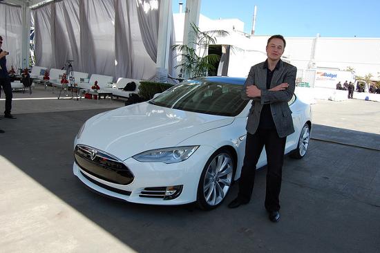 Elon Musk with Tesla Model S