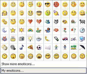 emoticones mesenger: