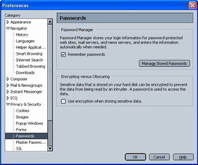 Netscape Navigator Password Manager