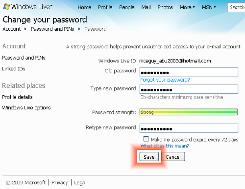 changing hotmail password