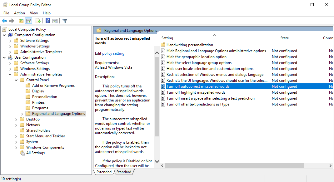 How to Disable Windows 10 Spell Checker and Auto-correct?