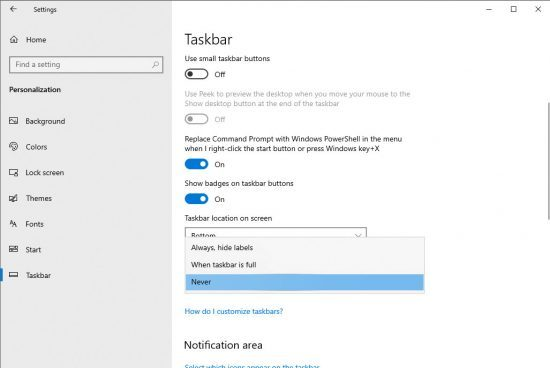 How to Disable Combining in Taskbar for Windows 10?