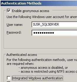 User Authentication in IIS