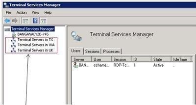 Using the Terminal Services Manager Tool